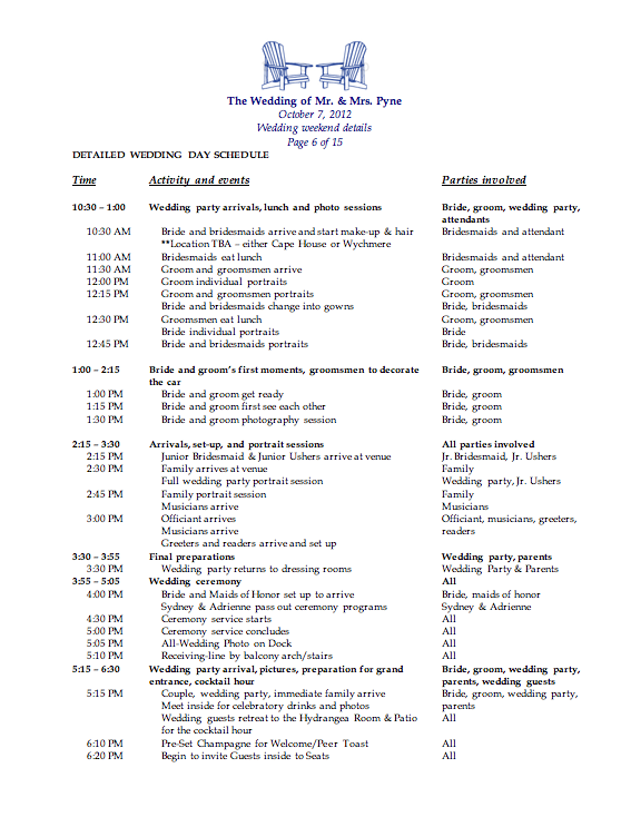 Wedding Weekend Packet The Pynes - Wedding day itinerary template